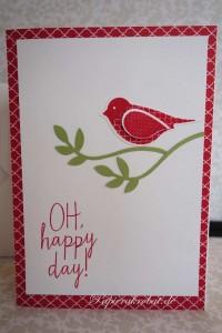 Oh happy day! Karte mit der Vogelstanze in Olivgrün und Glutrot